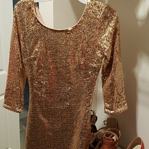 Lulu's rose gold sequin dress